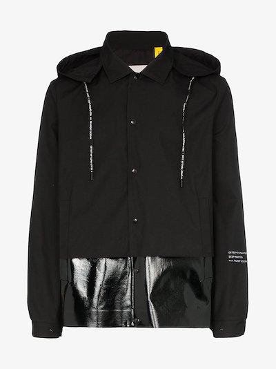 7 Moncler Fragment lacquered hem logo hooded jacket