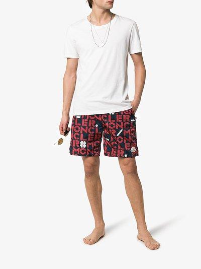 logo print Bermuda swim shorts