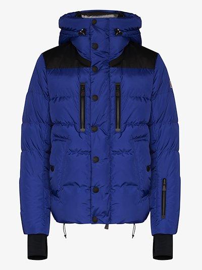 blue hooded padded jacket
