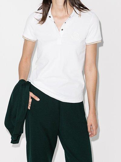 metallic trim polo shirt