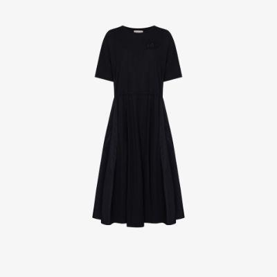 panelled drawstring-waist midi dress
