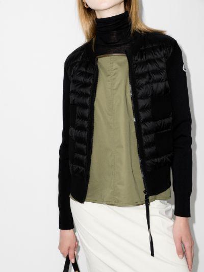 zip-up padded wool cardigan