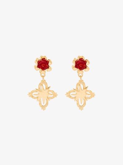 gold-plated cross earrings