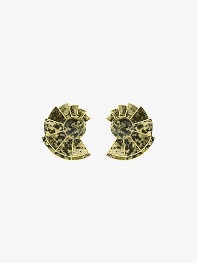 gold-plated Nautilus unakite earrings