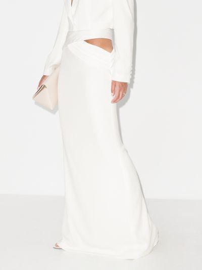 cutout silk maxi skirt