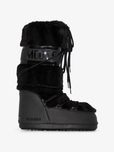 black classic faux fur trim snow boots