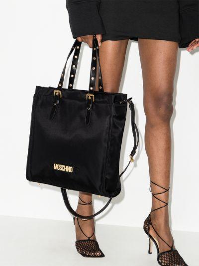 Black Logo Plaque Tote Bag