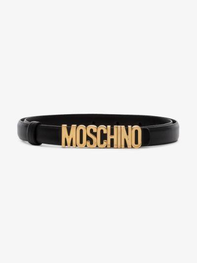 black logo skinny leather belt