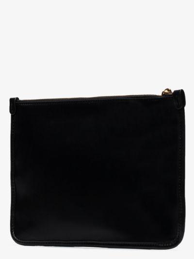 black logo zip clutch bag
