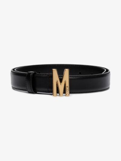 black M buckle leather belt