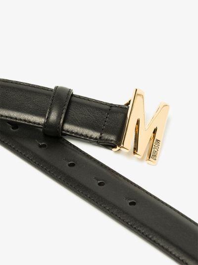 black M logo leather belt