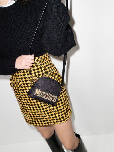 black quilted logo shoulder bag