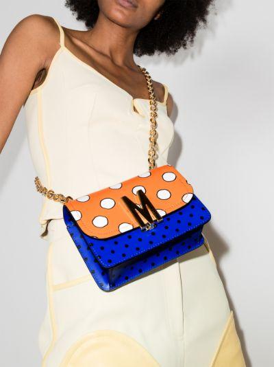 blue and orange polka dot leather shoulder bag