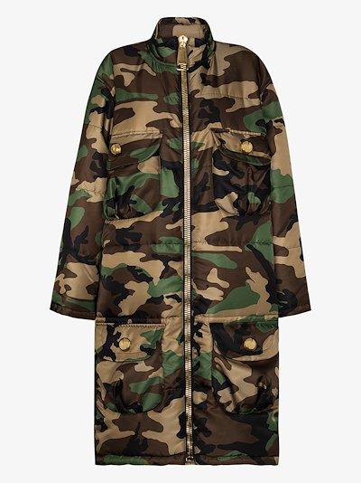 oversized camouflage print padded coat