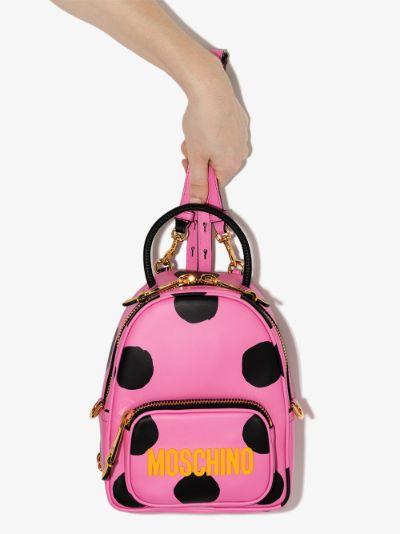 pink polka dot leather mini backpack