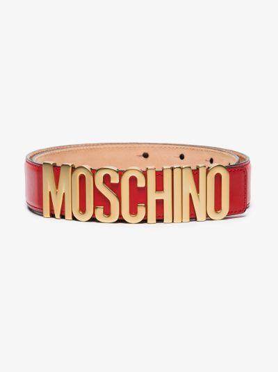 red logo leather belt