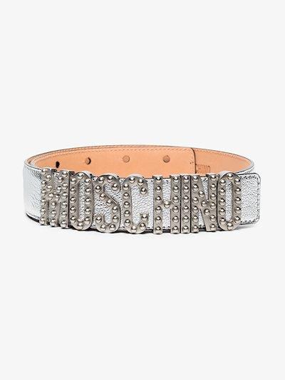 silver tone studded logo belt