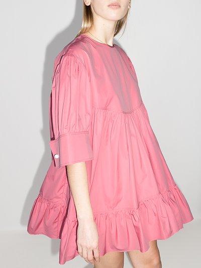 Marabou tiered cotton mini dress