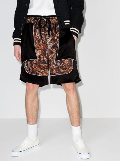 Courtside Paisley Print Silk Shorts