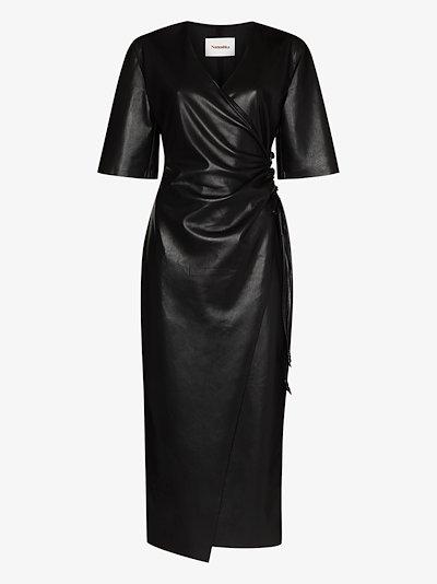 Helisa faux leather wrap dress