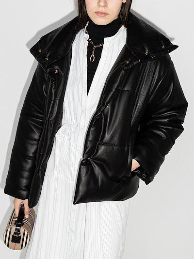Hide vegan leather puffer jacket