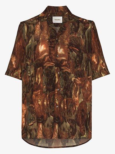 Ville Amfora print bowling shirt