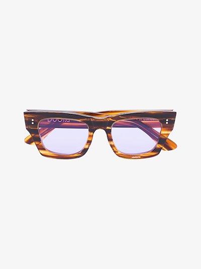 brown striped square frame sunglasses