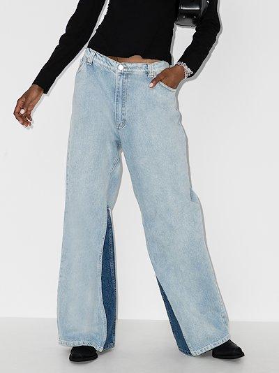 contrast insert wide leg jeans