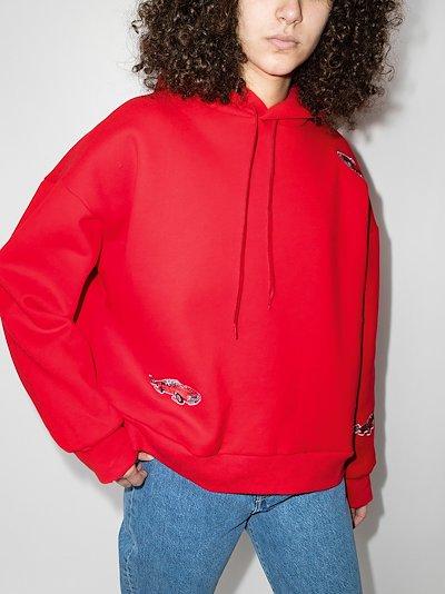 Drawstring applique long sleeve hoodie