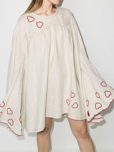 embroidered heart linen mini dress