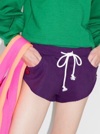 fangs appliqué cotton track shorts