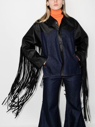 fringed leather denim jacket