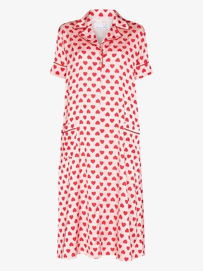 heart print shirt dress