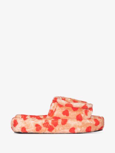 orange heart print slipper slides