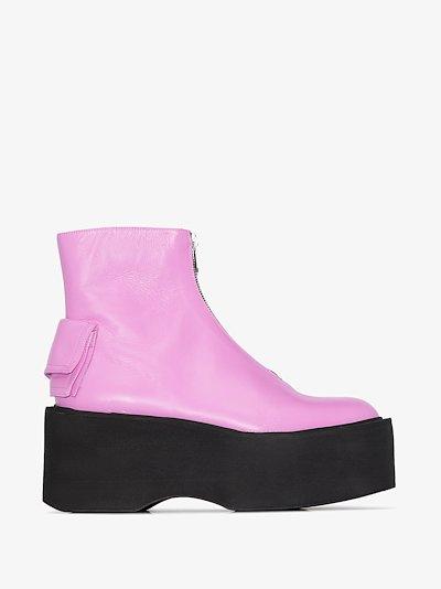 pink 80 zip front leather platform boots