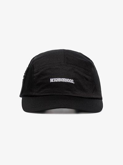 black embroidered logo baseball cap
