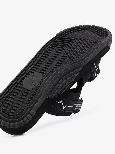 Black logo strap sandals
