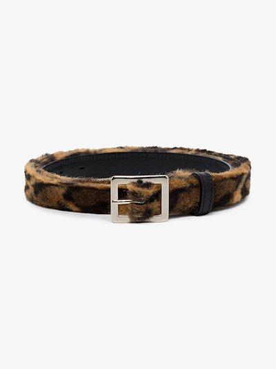 brown leopard print leather belt