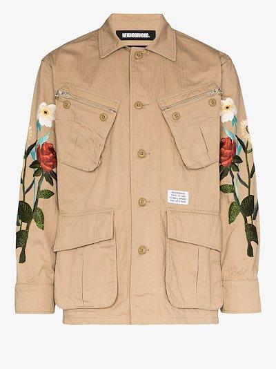 floral-embroidered shirt jacket