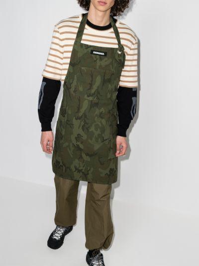 green camouflage print cotton apron