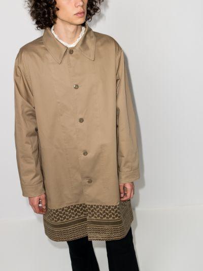 patterned hem trench coat