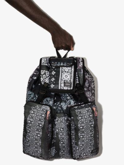 X Porter-Yoshida & Co. black bandana print backpack