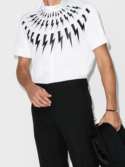 Thunderbolt-print short-sleeved shirt