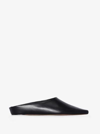 Black Alba leather mules