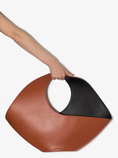 Brown Jupiter large leather tote bag