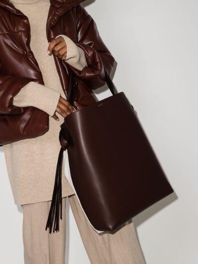 brown Saturn leather tote bag