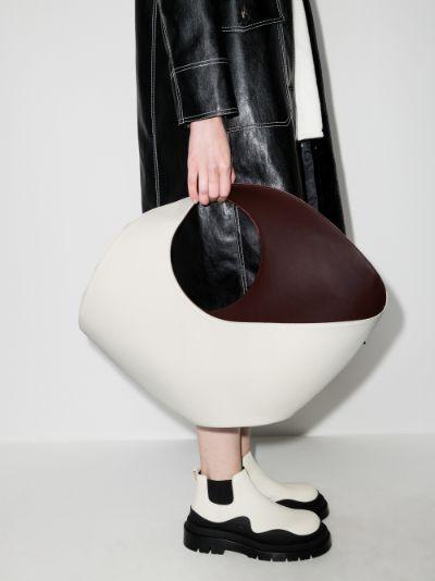 Cream Jupiter large leather tote bag