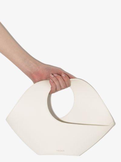Cream Jupiter small leather tote bag