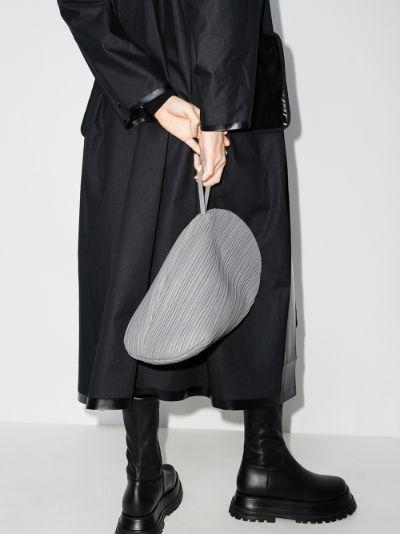grey Pluto leather clutch bag