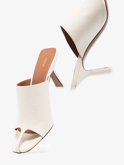 White Jumel 80 Square Toe Leather Mules